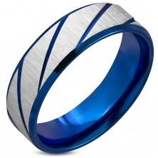Obrączka ze stali chirurgicznej, szorstka powierzchnia, ciemnoniebieskie ukośne nacięcia, 7 mm