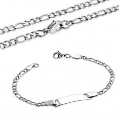 Stalowy łańcuszek i bransoletka z lśniącą płytką, splot Figaro, srebrny kolor