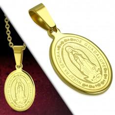 Stalowa zawieszka, złoty odcień, owalny medalion z Maryją Panną i napisem