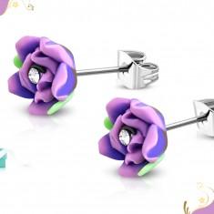Kolczyki ze stali 316L, fioletowa róża z masy FIMO, bezbarwna cyrkonia w środku