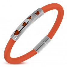 Pomarańczowa bransoletka z gumy, stalowy walec z czterema wycięciami serduszek