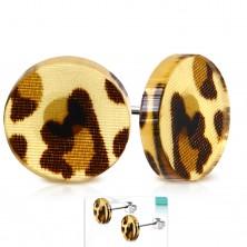 Kolczyki wkręty ze stali 316L, akrylowe kółko z brązowymi centkami leoparda