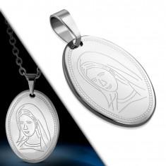 Owalna stalowa zawieszka - masywna płytka z wygrawerowaną Maryją Panną