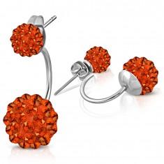 Stalowe kolczyki srebrnego koloru, dwie kuleczki Shamballa z pomarańczowymi cyrkoniami