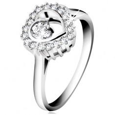 Pierścionek ze srebra 925, rodowany, bezbarwny zarys serca z okrągłą cyrkonią wewnątrz