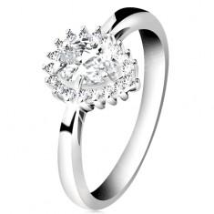Rodowany pierścionek ze srebra 925, błyszcząca kropelka z bezbarwnych cyrkonii