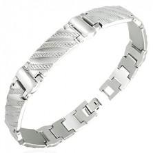 Stalowa bransoletka w stylu zegarka - prążki