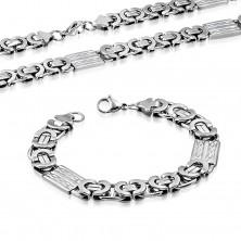 Zestaw, stalowy naszyjnik i bransoletka, srebrny kolor, prostokąty z pętelkami