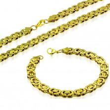 Zestaw, naszyjnik i bransoletka, stal 316L złotego koloru, bizantyjski wzór