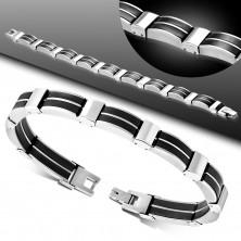 Stalowo-gumowa bransoletka, ogniwa srebrnego koloru, czarne gumowe łączniki