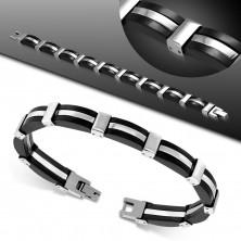 Bransoletka ze stalowych i gumowych ogniw srebrnego i czarnego koloru