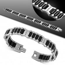 Stalowo-gumowa bransoletka, lśniące ogniwa srebrnego koloru, czarne pasy