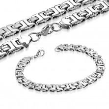 Naszyjnik i bransoletka srebrnego koloru, stal chirurgiczna, bizantyjski motyw
