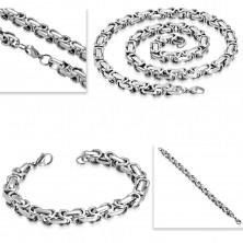 Stalowy naszyjnik i bransoletka, gruby kanciasty łańcuszek srebrnego koloru