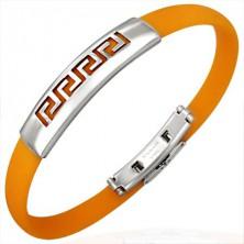 Pomarańczowa gumowa bransoletka - grecki wzór