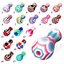 Akrylowy plug do ucha, rozszerzony na jednym końcu, różne kolory i wzory