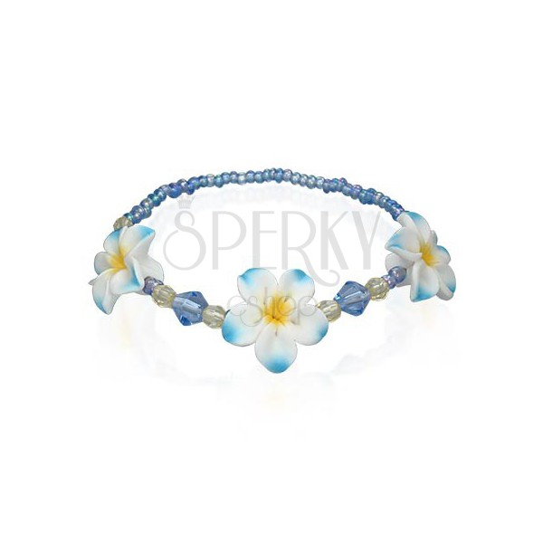 Koralikowa bransoletka Fimo z kwiatami, niebieska