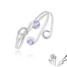 Pierścionek ze srebra 925 na rękę i nogę, cienkie ramiona z fioletowymi cyrkoniami
