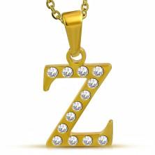 Lśniąca stalowa zawieszka złotego koloru, litera Z wyłożona bezbarwnymi cyrkoniami