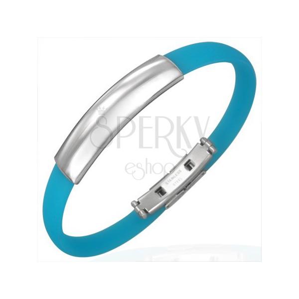 Niebieska gumowa bransoletka - gładka wstawka