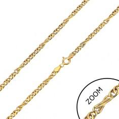 Łańcuszek z żółtego 585 złota - ósemkowe i owalne ogniwa, 550 mm