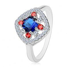 Srebrny pierścionek 925, ciemnoniebieski środek, bezbarwne i czerwone cyrkonie