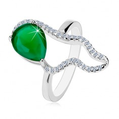 Srebrny 925 pierścionek - duża zielona łza z cyrkonii, bezbarwny asymetryczny kontur
