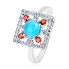Pierścionek ze srebra 925, bezbarwny cyrkoniowy kwadrat, jasnoniebieskie kółko w środku
