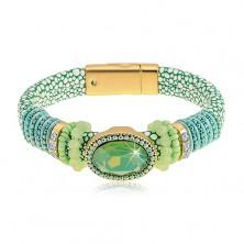 Bransoletka zielonego koloru ze wzorem węża, duży oszlifowany owal, koraliki i sznurki