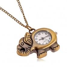 Zegarek na łańcuszku w matowym mosiężnym odcieniu, słoń