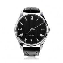 Zegarek na rękę, czarny skórzany pasek, okrągły czarny cyferblat