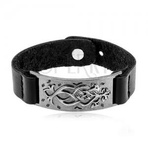 Czarna skórzana bransoletka, stalowa ciemnoszara płytka z ornamentem