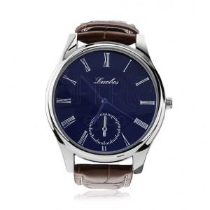 Męski zegarek na rękę, okrągły niebieski cyferblat, brązowy pasek