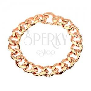 Stalowa bransoletka - gruby łańcuszek ozdobiony wzorem skóry węża, miedziany kolor