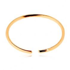 Piercing do nosa z żółtego 585 złota - lśniący cienki krążek, gładka powierzchnia