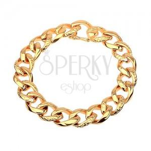 Bransoletka ze stali 316L złotego koloru - gruby łańcuszek ozdobiony wzorem skóry węża