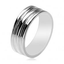 Srebrny 925 pierścionek - obrączka z dwoma wgłębionymi pasami, 8 mm