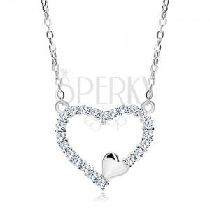 Naszyjnik ze srebra 925, cyrkoniowy kontur serca i małe serduszko