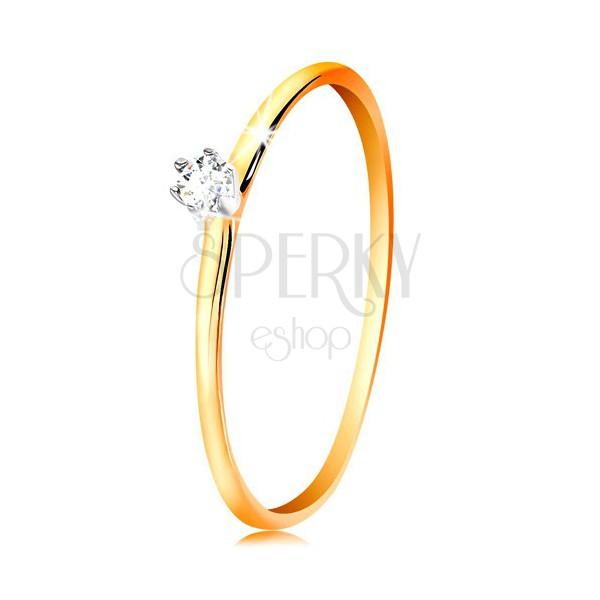 Złoty pierścionek 585 - bezbarwna cyrkonia w koszyczku z białego złota, cienkie ramiona