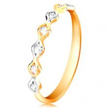 Złoty 14K pierścionek - dwukolorowe ziarnka z wstawionymi cyrkoniami, wysoki połysk