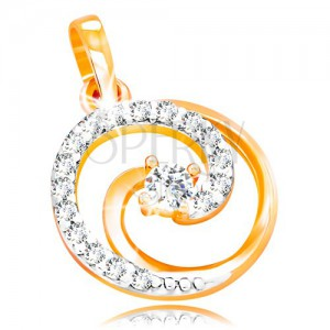 Zawieszka z 14K złota - okrągły kontur z błyszczącą spiralą i przezroczystymi cyrkoniami