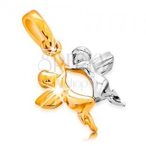 Złota zawieszka 585 - dwa anioły z żółtego i białego złota, błyszcząca powierzchnia