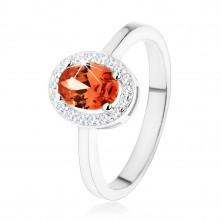 Srebrny pierścionek 925, ciemnopomarańczowa owalna cyrkonia w błyszczącej oprawie