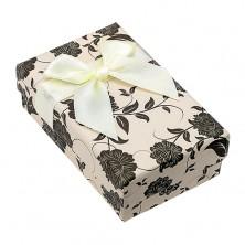 Pudełeczko na zestaw lub łańcuszek, beżowo-czarne z motywem kwiatów