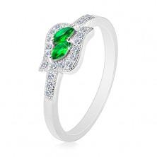 Srebrny 925 pierścionek, zielone cyrkoniowe ziarnka w bezbarwnej oprawie, rodowany