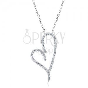 Srebrny naszyjnik 925, asymetryczny kontur serca z bezbarwnymi cyrkoniami
