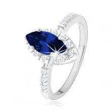 Srebrny pierścionek 925, ziarnko ciemnoniebieskiego koloru w bezbarwnej cyrkoniowej oprawie