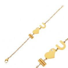 Stalowa bransoletka złotego koloru z napisem I Love You i bezbarwną  cyrkonią