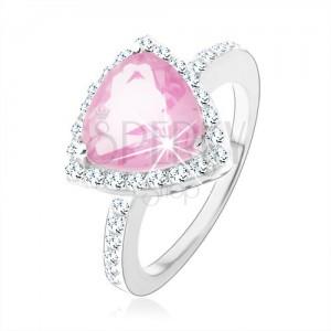 Srebrny 925 pierścionek, trójkątny różowy cyrkon, błyszczący bezbarwny kontur