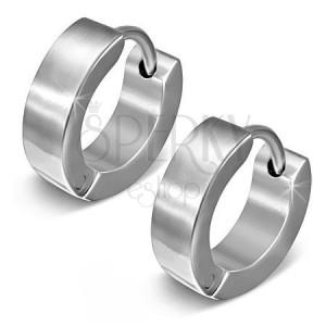 Kolczyki ze stali chirurgicznej, błyszczące koła w kolorze srebrnym, zapinanie typu bigel